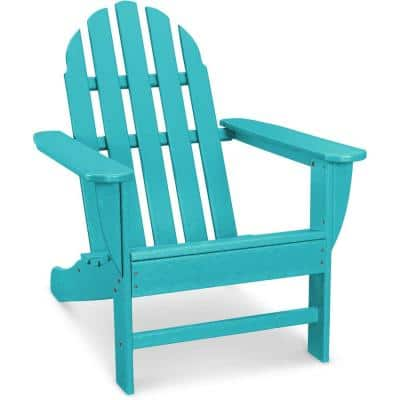 Classic All-Weather Plastic Adirondack Chair in Aruba Blue