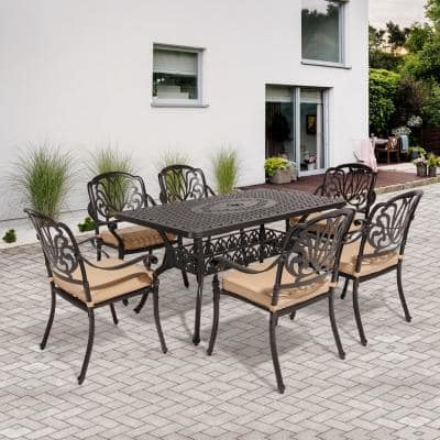 Classic Dark Brown 7-Piece Cast Aluminum Outdoor Dining Set with Rectangle Table and Stackable Chairs khaki Cushions