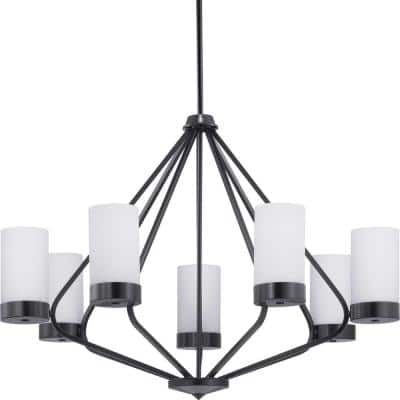 Elevate Collection 7-Light Matte Black Etched White Glass Mid-Century Modern Chandelier Light