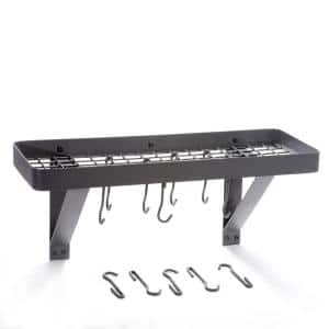 Graphite Wall Mount Bookshelf Pot Rack with Grid and 8-Hooks