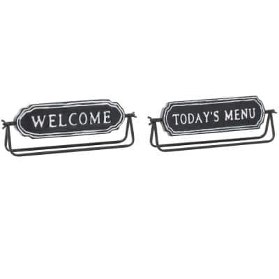 Black and White in. Welcome in. and in. Today's Menu in. Metal Table Decor Signs, Set of 2: 2 in. x 4.5 in.