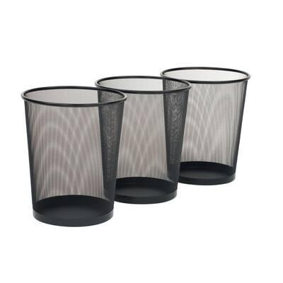 6 Gal. Black Round Mesh Trash Can Recycling Bin (3-Pack)