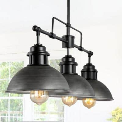 Industrial 3-Light Black Modern Farmhouse Dome Island Chandelier Rustic Linear Barn Pendant with Brushed Gray Shades