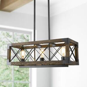 Eliora 23.5 in. Rustic Farmhouse Black Chandelier 3-Light Rectangular Wood Linear Cage Kitchen Island Chandelier