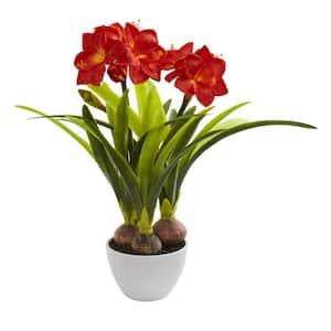 Indoor Amaryllis Artificial Arrangement in White Vase