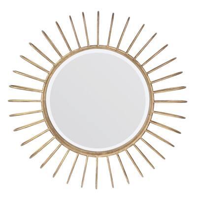 24in x 24in Glam Round Gold Sunburst Metal Framed Accent Mirror