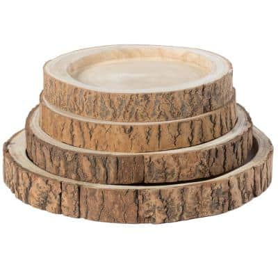 18 Dia in. Beige/ Cream Wood Tree Bark Indented Display Tray Serving Plate Platter Charger (Set of 4)