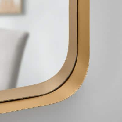 Medium Square Gold Modern Mirror with Deep-Set Frame and Rounded Corners (26 in. H x 26 in. W)
