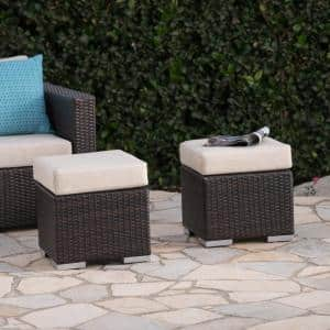 Santa Rosa Multi-Brown Metal Outdoor Ottoman with Beige Cushions (2-Pack)