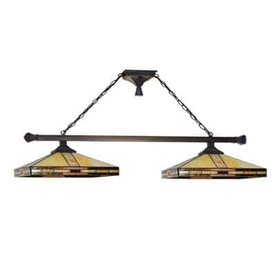 2-Light Mission 57 in. Mica Bronze Island Fixture with Hand Rolled Art Glass Shade