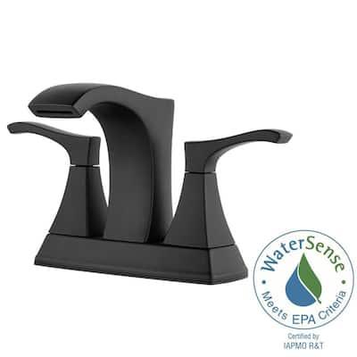 Venturi 4 in. Centerset 2-Handle Bathroom Faucet in Matte Black (2-Pack Combo)
