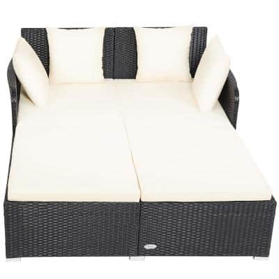1-Piece Plastic Rattan Outdoor DayBed with Beige Cushions