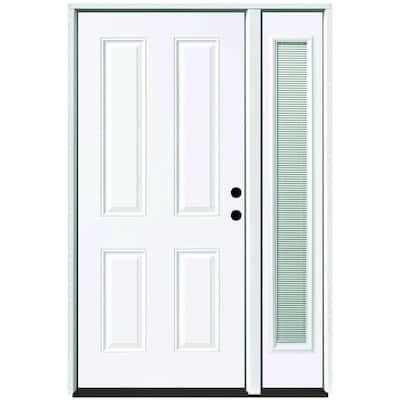 51 in. x 80 in. 4-Panel Primed White Left-Hand Steel Prehung Front Door with 12 in. Mini Blind Sidelite 4 in. Wall