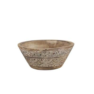 Large Round Decorative Hand-Carved Brown and White Wood Bowl with Tribal Design