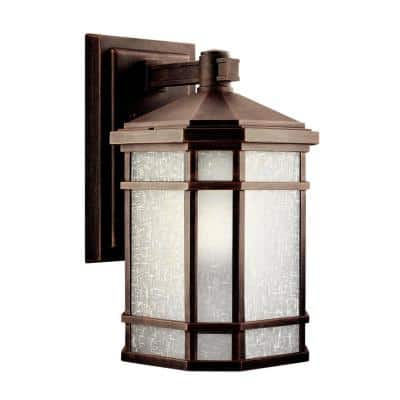 Cameron 14.25 in. 1-Light Prairie Rock Outdoor Wall Mount Sconce with Etched Linen Glass
