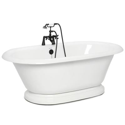 72 in. AcraStone Acrylic Double Pedestal Flatbottom Non-Whirlpool Bathtub and Faucet in Old Bronze