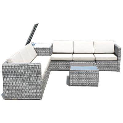 8-Piece Rattan Sofa Sectional Patio Conversation Furniture Set with White Cushion