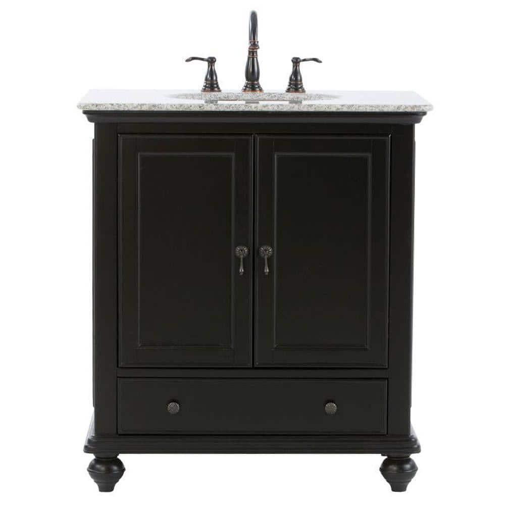 Home Decorators Collection Newport 31 In W X 21 1 2 In D Bath Vanity In Black With Granite Vanity Top In Gray 9085 Vs31h Bk The Home Depot