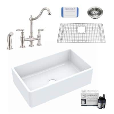Inspire All-in-One Fireclay 30 in. Single Bowl Farmhouse Apron Front Kitchen Sink with Pfister Bridge Faucet and Drain
