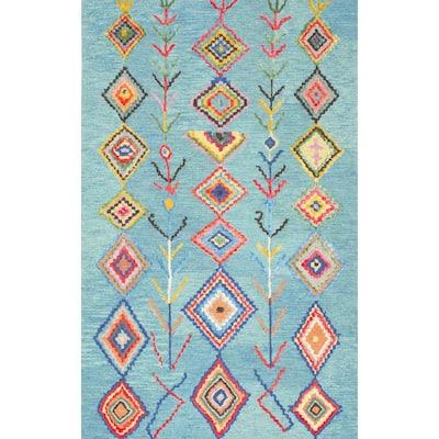Belini Moroccan Southwestern Symbols Turquoise 9 ft. x 12 ft. Area Rug