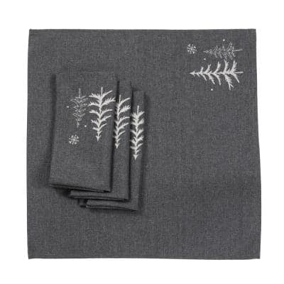 0.1 in. H x 20 in. W x 20 in. D Snowing Forest Christmas Napkins in Dark Gray (Set of 4)