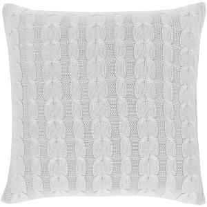 Okeanos Light Gray Solid Polyester 20 in. x 20 in. Throw Pillow