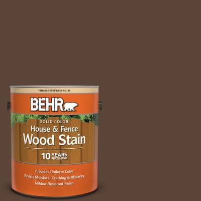 Behr 1 Gal Bnc 03 Essential Brown Solid Color House And Fence Exterior Wood Stain 01101 The Home Depot