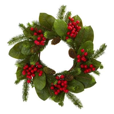 19in. Unlit Artifical Holiday Wreath with Magnolia Leaf, Berry and Pine
