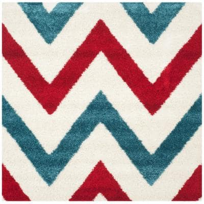 Kids Shag Ivory/Red 7 ft. x 7 ft. Square Chevron Area Rug