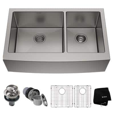 Standard PRO 16-Gauge Stainless Steel 36 in. Double Bowl Farmhouse Apron Kitchen Sink