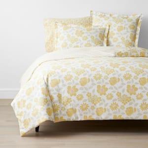Company Cotton Garden Spray Yellow Botanical Full Percale Duvet Cover