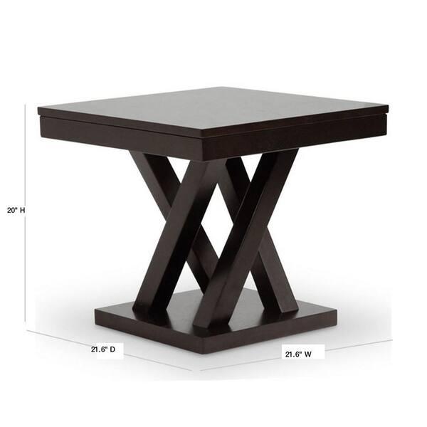 Baxton Studio Everdon Dark Brown End Table 28862 4969 Hd The Home Depot