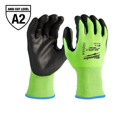 Medium High-Visibility Cut 2 Resistant Polyurethane Dipped Work Gloves