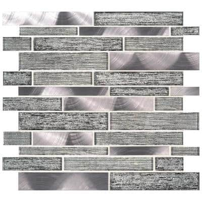 Volcanic Luxe Interlocking 11.73 in. x 11.61 in. x 8mm Glass Metal Mesh-Mounted Mosaic Tile (9.5 sq. ft. / case)