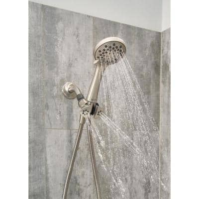Jetty 3-Spray 3.5 in. Single Wall Mount Handheld Shower Head in Brushed Nickel