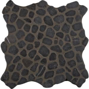 Ebony Nightfall 11.42 in. x 11.42 in. x 10 mm Tumbled Marble Mesh-Mounted Mosaic Tile (9.1 sq. ft./Case)