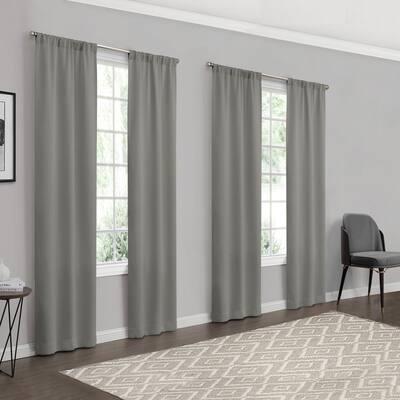 Ferris Grey Solid Room Darkening 26 in. W x 84 in. L Panel in Grey (4-Pack)