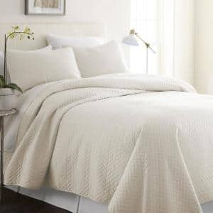 Herring Ivory Microfiber Queen Performance Quilted Coverlet Set