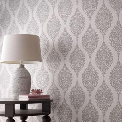 Gray Vinyl Non-Pasted Moisture Resistant Wallpaper Roll (Covers 56 Sq. Ft.)