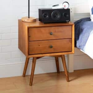 Mid-Century 2-Drawer Solid Wood Caramel Nightstand (2-Pack)