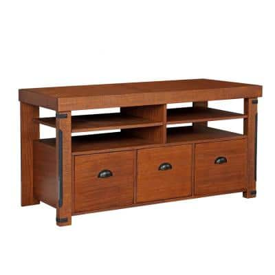 Industrial Collection Hewn Pellet Rough Sawn Wood Credenza Console with 3-Large File Drawers