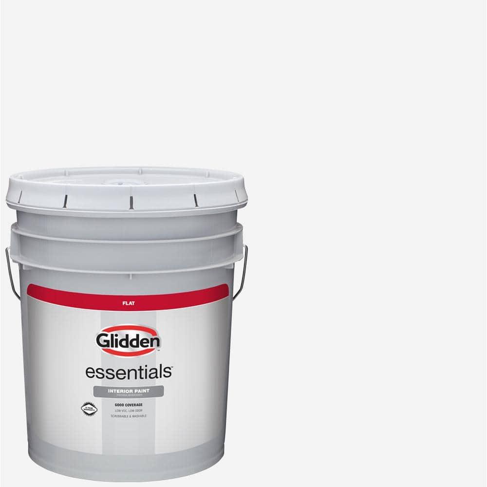 Glidden Essentials 5 Gal White Flat Interior Paint Gle 1000 05 The Home Depot