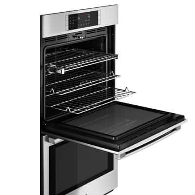 800 Series 27 in Double Electric Wall Oven with European Convection Self Cleaning in Stainless Steel with Touch Controls