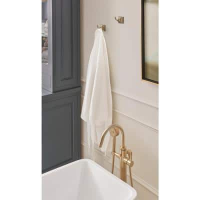 Markham Double Prong Robe Hook in Golden Champagne