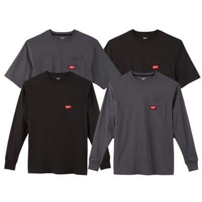 Men's Medium Black and Gray Heavy-Duty Cotton/Polyester Long-Sleeve and Short-Sleeve Pocket T-Shirt (4-Pack)