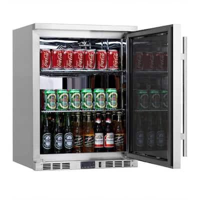 Single Zone 23.4 in. 140 (12 oz.) Single-Door Solid Stainless Steel Beverage Can Cooler