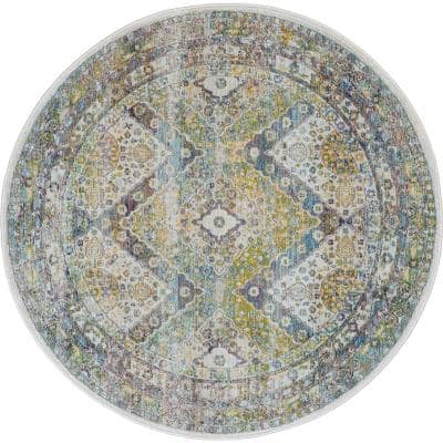Global Vintage Blue/Green 4 ft. x 4 ft. Oriental Traditional Round Area Rug