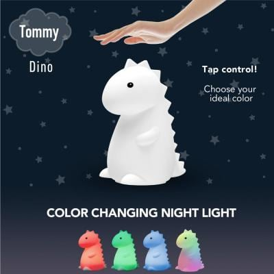 Tommy Dinosaur MultiColor changing Integrated LED Rechargeable Silicone Night Light Lamp, White