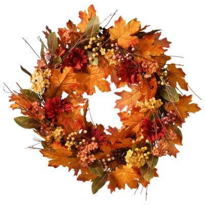 24 in. Artificial Harvest Wreath with Pine Cones and Maple Leaves