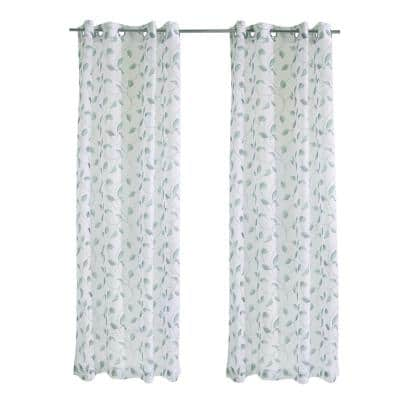 Two Tone Leaf 54 in. W x 84 in. L Sheer Grommet Indoor/Outdoor Curtain Panel in Green